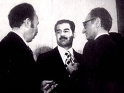 شاه و صدام و بومدین پس از امضای پیمان الجزیره